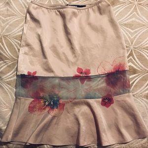 DKNY Blush Floral Sheer Panel Skirt